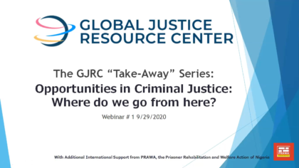 Opportunities in Criminal Justice: Where do we go from here?